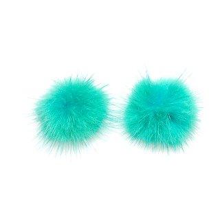 【2個入り】Real Mink Furエメラルドグリーンカラー3.5cm