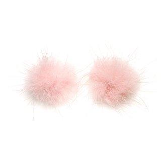 【4個入り】ライトピンクカラーミンクファーMink Fur 30mm