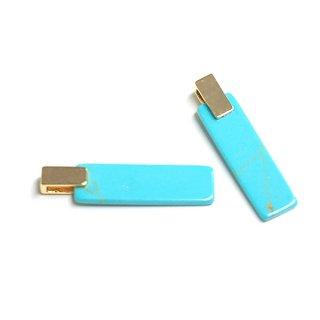 【1個】天然石Turquoise(ターコイズ)風長方形Squareゴールドチャーム