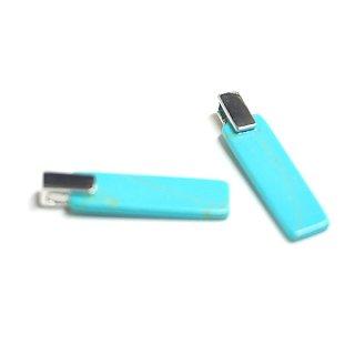 【1個】天然石Turquoise(ターコイズ)風長方形Squareシルバーチャーム