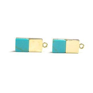 【1個】天然石Turquoise(ターコイズ)風四角形ゴールドチャーム