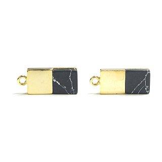 【1個】天然石Sodalite(ソーダライト)風四角形ゴールドチャーム