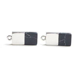 【1個】天然石Sodalite(ソーダライト)風四角形シルバーチャーム