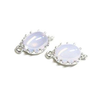 【2個入り】楕円形Violet OpalヴァイオレットオパールカラーGlassガラスシルバーコネクター、チャーム|アクセサリーパーツ