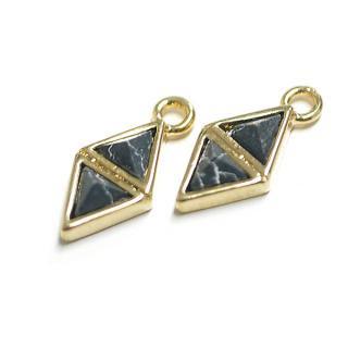 【1個】3D petit Duo triangleソーダライト(Sodalite)風ゴールドチャーム
