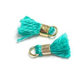 【6個入り】刺繍糸tasselエメラルドグリーンカラーミニタッセル|ハンドメイド材料|アクセサリーパーツ
