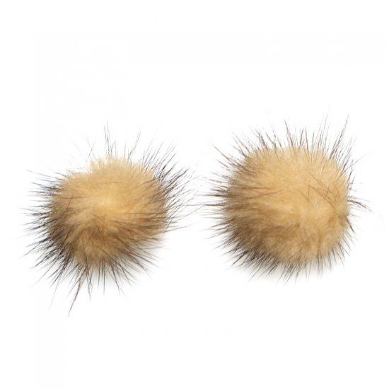 【2個入り】Real Mink Furベージュ&キャメルカラー3.5cm