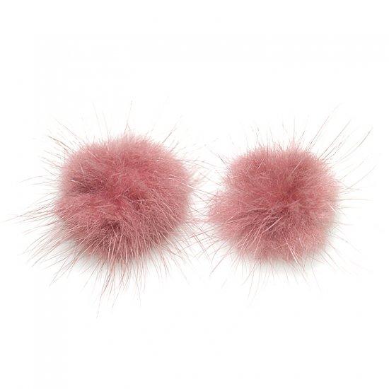 【2個入り】Real Mink Furパープルカラー3.5cm