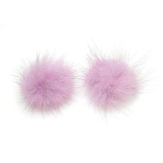 【4個入り】ライトラベンダーカラーミンクファーMink Fur 30mm