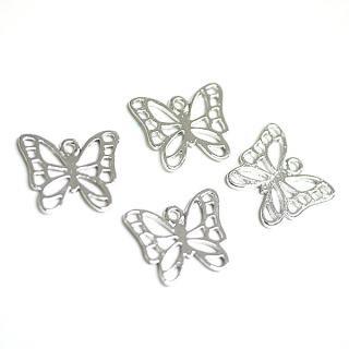 【4個入り】透かし蝶々Butterflyモチーフ光沢シルバーチャーム
