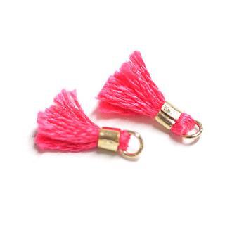【5個入り】刺繍糸tasselレッドピンクカラーMediumタッセル、チャーム|ハンドメイド材料|アクセサリーパーツ