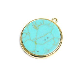 【1個】天然石ターコイズ(Turquoise)風仕上げ約20.6mm円形ゴールドチャーム
