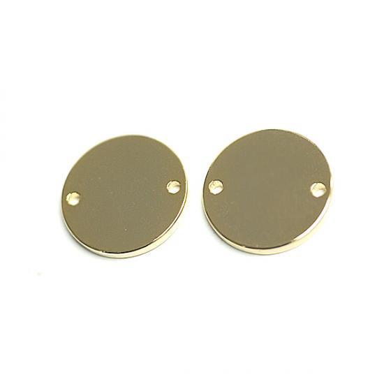 【2個入り】15mmサークル円形ゴールドコネクター、チャーム