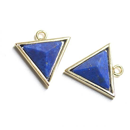 【1個】ラピスラズリ (lapis lazuli) 3D三角形ゴールドチャーム