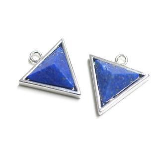 【1個】ラピスラズリ (lapis lazuli) 3D三角形シルバーチャーム