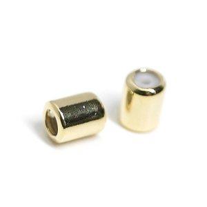 【6個入り】光沢ゴールドスライドスクエア 直径約4mm留め金具