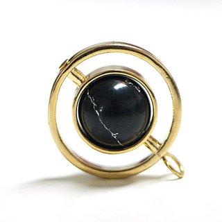 【1個】宇宙〜天然石ソーダライト(Sodalite)風Double Circle Earth Ballゴールドチャーム