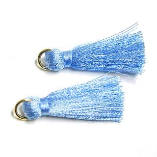 【4個入り】Pastel Blueパステルブルーカラー約30mmカン付きタッセル、チャーム