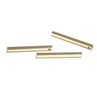 【4個入り】2.5*30mm四角形ゴールドパイプ、パーツ