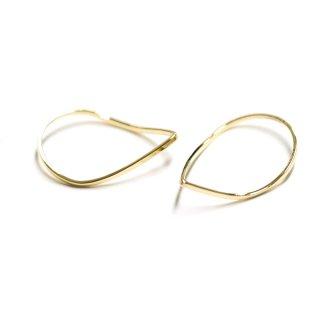 【2個入り】優美な曲線の3D立体的なTearDropゴールドパーツ