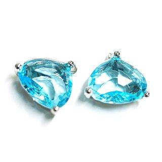 【2個入り】ボリューム三角形GlassオーシャンアクアOcean Aquaカラーシルバーチャーム,パーツ
