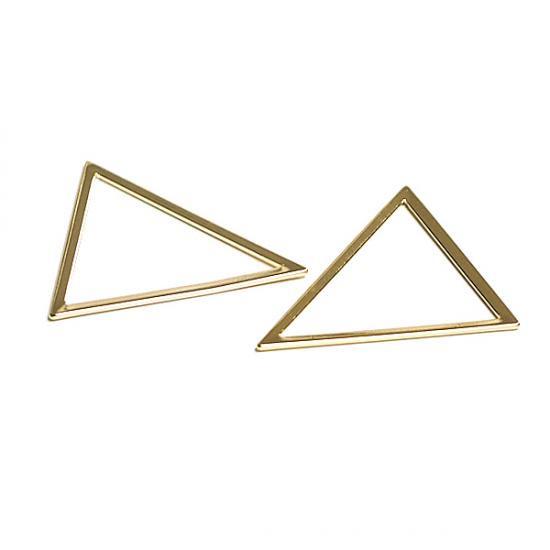 【2個入り】しっかりした光沢ゴールドTriangle三角形31×36mmチャーム