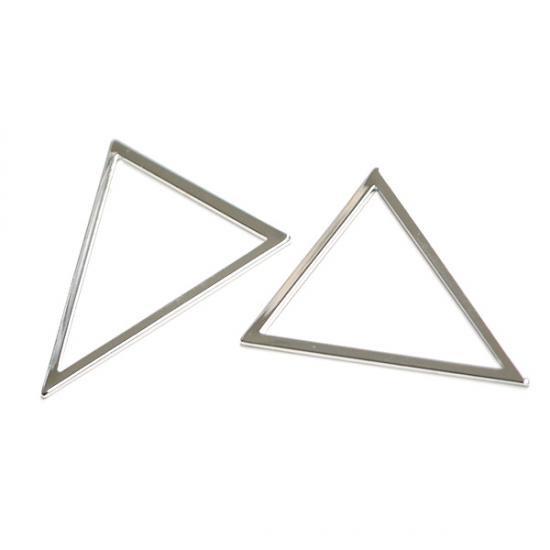 【2個入り】しっかりした光沢シルバーTriangle三角形31×36mmチャーム