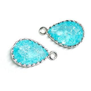 【2個入り】Rock Glassブルージルコンカラードロップ形シルバーチャーム、パーツ