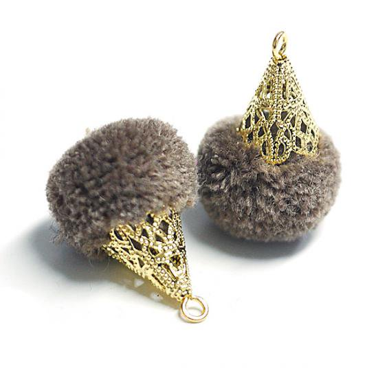 【4個入り】約17mm毛糸(ウール100%)モカブラウンカラーボンボンアンチックキャップチャーム、パーツ