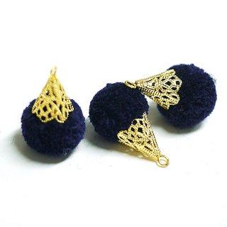 【4個入り】約17mm毛糸(ウール100%)ネイビーカラーボンボンアンチックキャップチャーム、パーツ