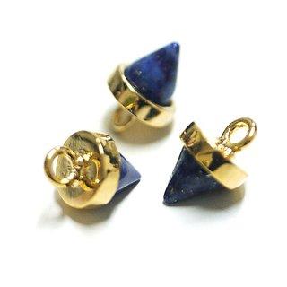【2個入り】Petit Triangle立体的な三角形ラピスラズリ (lapis lazuli) ゴールドチャーム、パーツ|アクセサリーパーツ