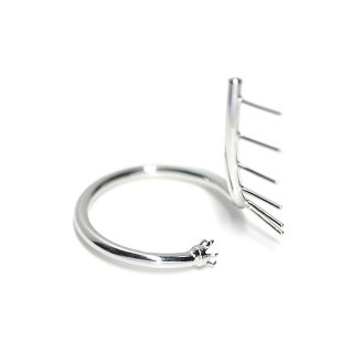 【1個】Swan Ring〜ピートン&ストーン台付きシルバーリング製作台、パーツ