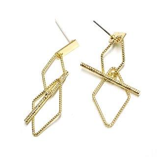 【1個】揺れるTwist Duo Diamond&Stickモチーフゴールドピアス