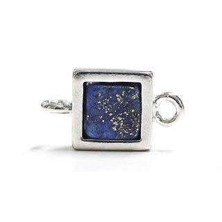 【1個】1点もの〜ラピスラズリ(lapis lazuli)正方形シルバーコネクター