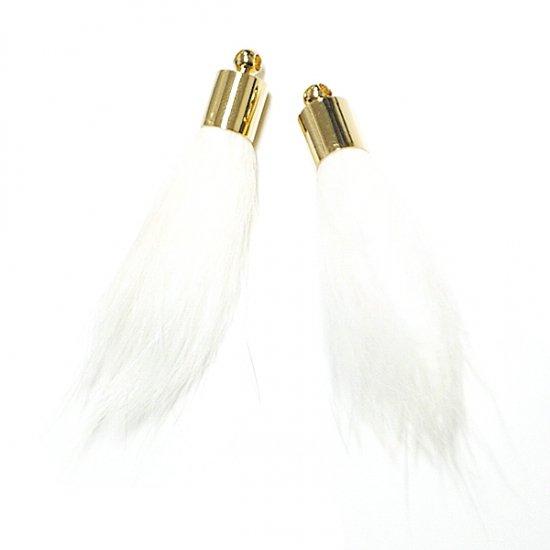 【1個】RealミンクファーWhiteホワイトカラーゴールドキャップ付きチャーム、パーツ
