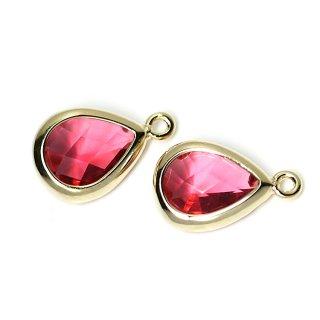 【2個入り】RubyカラーガラスTiny Drop形ゴールドチャーム