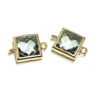 【2個入り】Smallスクエア形GlassブラックダイヤモンドカラーGlassゴールド両側カン付きチャーム、パーツ