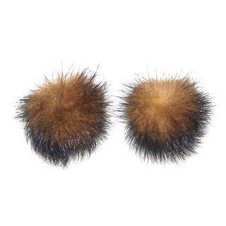 【4個入り】ダークブラウン&キャメルカラーミンクファーMink Fur 30mm