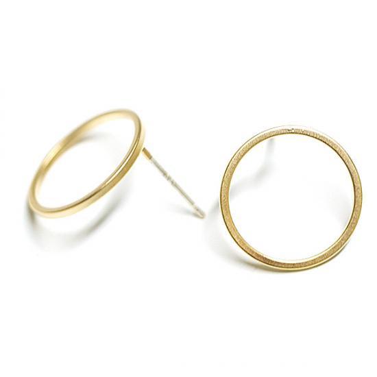 【2個(1ペア)】SV925刻印あり!約15mmマッドゴールド円形Circleシルバー925芯ピアス