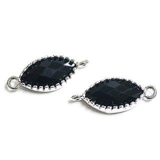 【2個入り】マキーズカットOnyx BlackオニキスブラックカラーGlass楕円形シルバーコネクター、パーツ