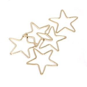 【4個入り】約22mmスターStar形ゴールドパーツ、レジン枠