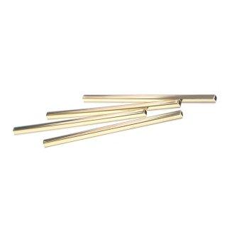 【2個】真鍮製!高品質3mm*75mmゴールドスクエア形パイプ、金具、パーツ