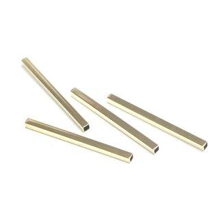 【4個】真鍮製!高品質3mm*45mmゴールドスクエア形パイプ、金具、パーツ