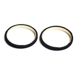 【2個入り】ブラックカラーセーム革を巻いた真鍮製30mmサークル、円形パーツ、チャーム