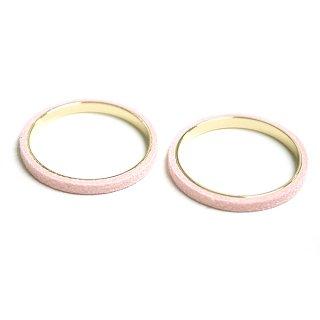 【2個入り】ライトピンクカラーセーム革を巻いた真鍮製30mmサークル、円形パーツ、チャーム
