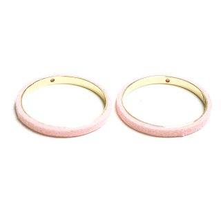 【2個入り】穴あり!ライトピンクカラーセーム革を巻いた真鍮製30mmサークル、チャーム