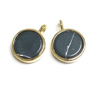 【2個】Black Howliteブラックハウライトカラー8mm円形ゴールドチャーム、パーツ