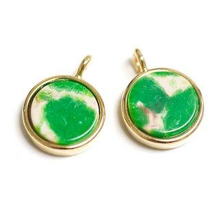 【2個】Amazonia Greenアマゾニアグリーンカラー8mm円形ゴールドチャーム、パーツ
