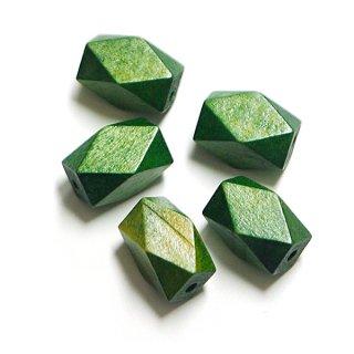 6個入りOlive Greenオリーブグリーンカラーダイヤモンドカットウッドビーズ、パーツ