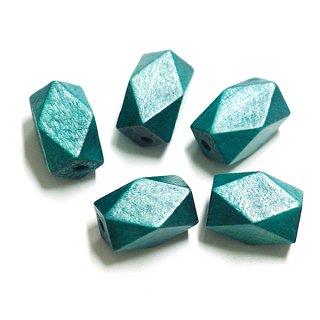 6個入りCapri Blueカプリーブルーカラーダイヤモンドカットウッドビーズ、パーツ